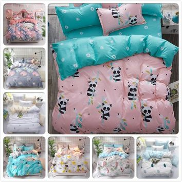 Panda Pattern Duvet Cover 3pcs/4pcs Bedding Set Kids Soft Cotton Bed Linens 150x200 1.2m 1.35m 1.5m 1.8m Single Twin Queen Size