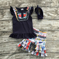 2016 Summer baby girls outfit dark blue aztec hot sell baby kids boutique clothing top and ruffles shorts matching headband set