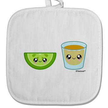 Cute Tequila Shot and Lime Wedge White Fabric Pot Holder Hot Pad by TooLoud