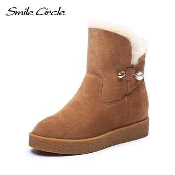 Smile Circle Winter Boots Suede Genuine Leather Snow Boots Women Fashion Ankle Boots Waterproof Wool Warm Platform Wedges Shoes