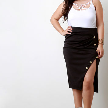 Button Accent Gathered Front Slit Pencil Skirt