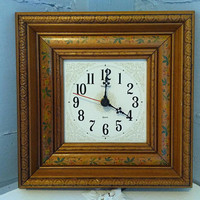 Clock, Wall Clock, Wood Clock, Decorative Wall Clock, Small, Square, New Haven, Floral, Battery Operated, Vintage, RhymeswithDaughter