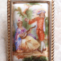 Limoges Pendant Brooch Porcelain Fragonard Courting Scene Vintage 083013MF