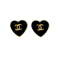 Vintage Chanel stud earrings black heart by Chanel | Vintage Five