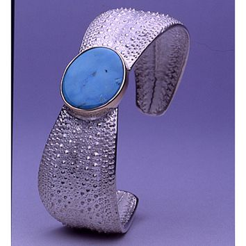Sea Cuff Turquoise, Gold and Sterling Silver Sea Urchin Bracelet