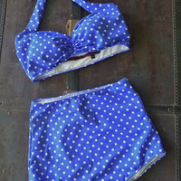Blue & White polka dot Retro Pin up bikini Two piece swimsuit size xs-xl