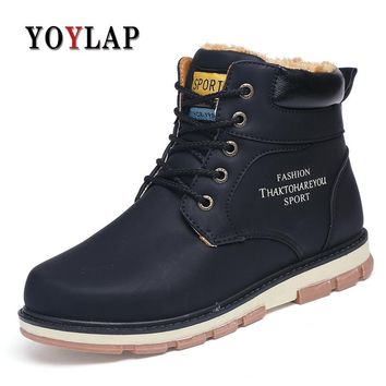 Waterproof Winter Warm Snow Doc Dr martins Shoes Men Vintage High Top Dr. Martens Boots Male Casual Ankle Shoes big size 39-46