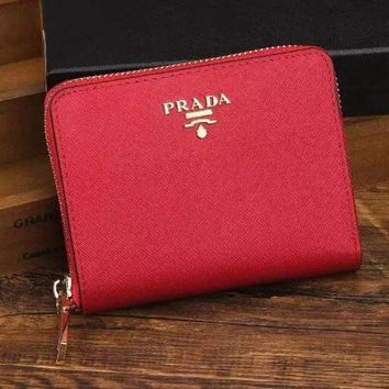 PEAPJ3V Prada Women Fashion Leather Zipper Wallet Purse-7