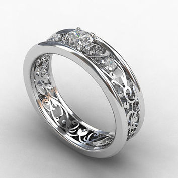 0.25ct Diamond Engagement ring, filigree, diamond wedding ring, diamond wedding band, white gold, yellow gold, lace ring, diamond ring