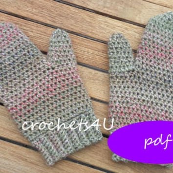 pattern crocheted mittens / crochet pattern / pdf