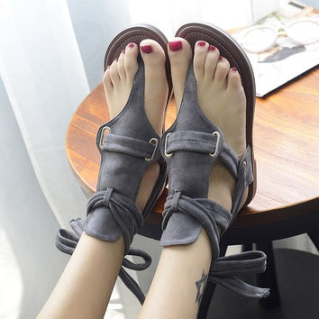 Stylish Gray T-Strap Ankle Sandals