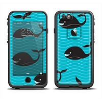 The Teal Smiling Black Whale Pattern Apple iPhone 6/6s LifeProof Fre Case Skin Set