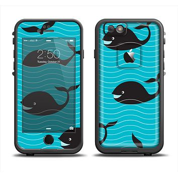 The Teal Smiling Black Whale Pattern Apple iPhone 6 LifeProof Fre Case Skin Set
