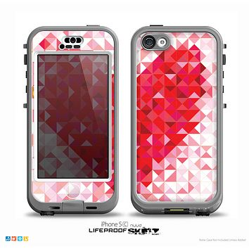 The Geometric Faded Red Heart Skin for the iPhone 5c nüüd LifeProof Case