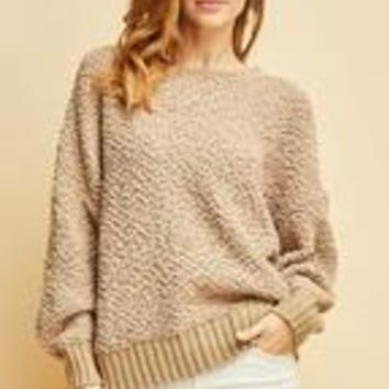 Faux Shearling open back sweater