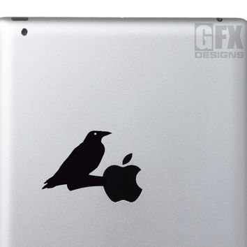 Crow sitting on a branch decal - Animal Decals