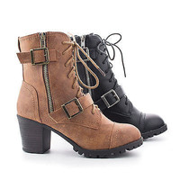 Baxter12L By Bamboo, Burnout Lace Up Lug Sole Combat Stacked Heel Boots