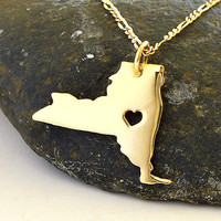 New York  Necklace - 18K Gold Plated Necklace - State Necklace Gold New York - State Charm  - I heart New York - I love New York