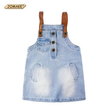 2017 Summer Style Girl Cowboy Suspender Dress Girls Denim Strap Dress Jean Sundress Casual Kids Dresses For Girls Baby Clothing