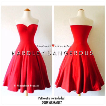 Strapless BRIDESMAID Swing Dress, Handmade by HARDLEY DANGEROUS, 1950s Pin Up Rockabilly Party Dres, Misses and Plus Size