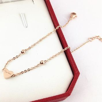8DESS Cartier Women Fashion Heart Plated Chain Bracelet