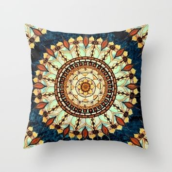 Sketched Mandala - Blue Textured Background Throw Pillow by Inspired Images