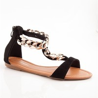 Link to Link Flat Chain Sandals - Black