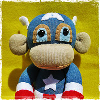 Rebel à la Mode | Captain America Monkey Pre-Order Sock Monkey Handmade Doll Spoof | Online Store Powered by Storenvy