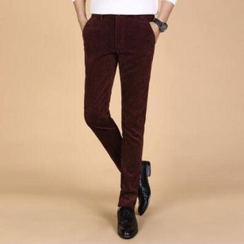 DCCKON3 Mens corduroy trousersMens business strip trousers casual pants slim straight trousers