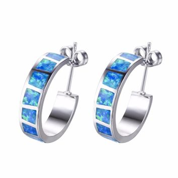 STYLEDOME Simple Elegant Sterling Silver 925 Filled Blue Fire Opal Circle Hoop Earrings Jewelry Gifts For Women Birthday Gifts