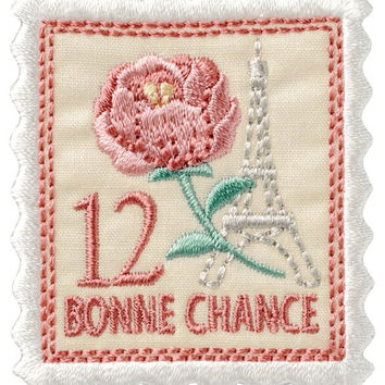 Old Rose Stamp Applique, Flower Embroidered Iron On Patch, Japanese Kawaii Floral Iron on Applique, Made in Japan, Embroidery Applique, W026