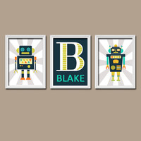 ROBOT Wall Art, Boy Bedroom Pictures, CANVAS or Prints Custom Boy Pictures, Personalized Boy Name Artwork, Set of 3 Baby Boy Nursery Decor