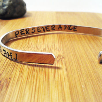 Success Bracelet Silver Cuff Secret Message Focus and Perseverance Unisex Mens Women Inspirational Recognition Motivation Graduation Gift