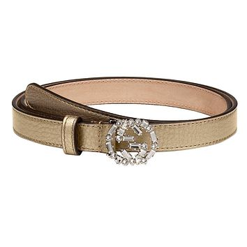 Gucci Women's Metallic Leather Crystal Interlocking GG Buckle Belt, 28, Beige