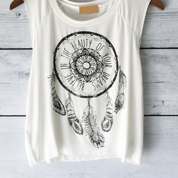 Dream Catcher Shirt - Cropped - Muscle T Shirt in White