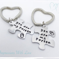 Hand stamped you are my Person puzzle | jigsaw | piece couples keyring | keychain | set | interlocking | love | friendship