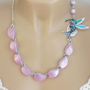 Pink Necklace, Hummingbird Jewelry, Gift for Her, Re-purposed Jewelry, Unique Necklace, Handmade Necklace, Handcrafted Jewelry, Assemblage