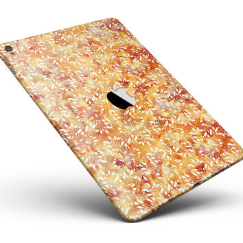 """The Watercolor Orange and Red Snow Crystal Full Body Skin for the iPad Pro (12.9"""" or 9.7"""" available)"""