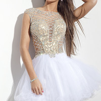 Rachel Allan Homecoming Dress with Cap Sleeves