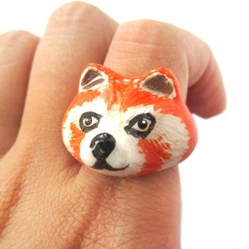 3D Red Panda Shaped Enamel Animal Ring in US Size 6 and 7 | Limited Edition