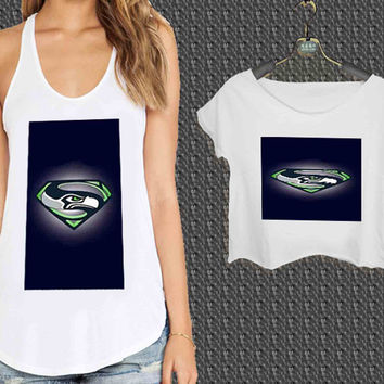 Seattle Seahawks Superman For Woman Tank Top , Man Tank Top / Crop Shirt, Sexy Shirt,Cropped Shirt,Crop Tshirt Women,Crop Shirt Women S, M, L, XL, 2XL*NP*