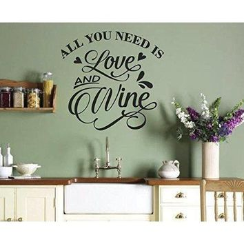 All You Need Is Love and Wine, Wall Mural Vinyl Graphic Decal