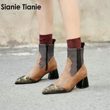 Sianie Tianie 2018 new patchwork fashion punk ankle boots for women fashion equestrian motorcycle marton boots big size 32-48 46