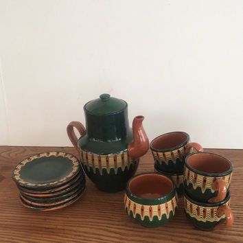 Bulgarian Troyan Red Clay Pottery Teapot Cups Saucers Bowl