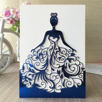 50pcs/lot Exquisite Beautiful girl birthday paty wedding invitation cards Adult Ceremony celebration invitaiton blessing card
