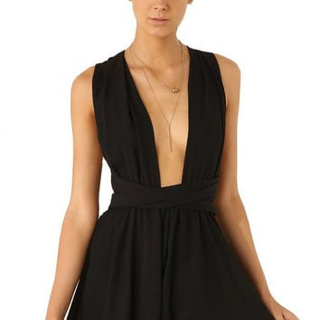 Women's Black Sleeveless Criss Cross Back Sexy Jumpsuit