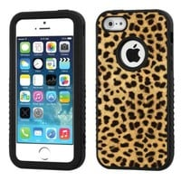 One Tough Shield ® 3-Layer Hybrid Case (Black/Black) for Apple iPhone 5 5s - (Cheetah Gold/Black)