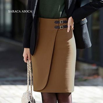New Style 2 color Solid Knee-Length Formal Skirts women's Plus Size Warm Straight Skirt Autunm Winter