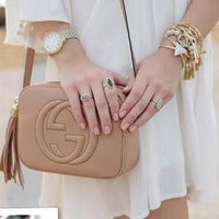 """Gucci"" Women Simple Fashion Classic Logo Embossed Tassel Zip Camera Bag Single Shoulder Messenger Bag G"