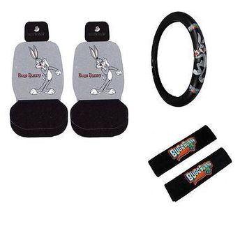 Licensed Official New Looney Tunes Bugs Bunny Car Truck Seat Covers & Steering Wheel Cover Set